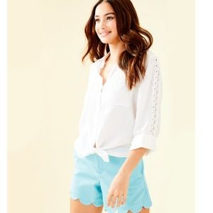 Lilly Pulitzer • Sea View Lace Button Down Top